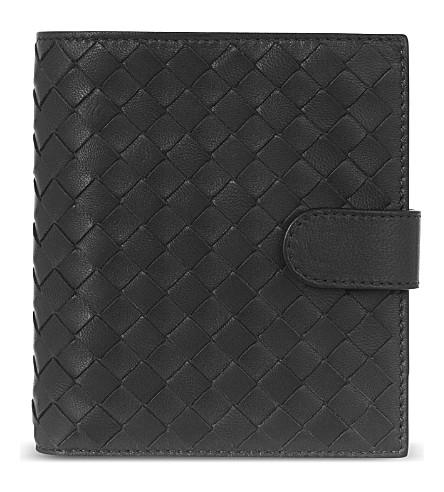 BOTTEGA VENETA Woven leather billfold wallet (Nero