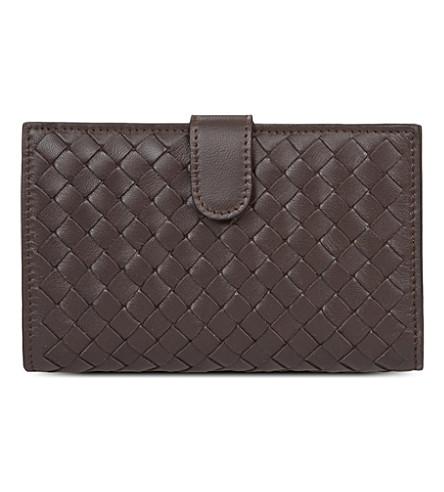 BOTTEGA VENETA Intrecciato popper wallet (Ebano