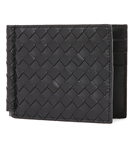 BOTTEGA VENETA Intrecciato leather moneyclip (Nero