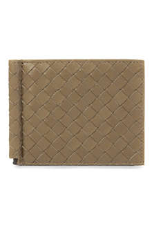 BOTTEGA VENETA Woven leather moneyclip card holder