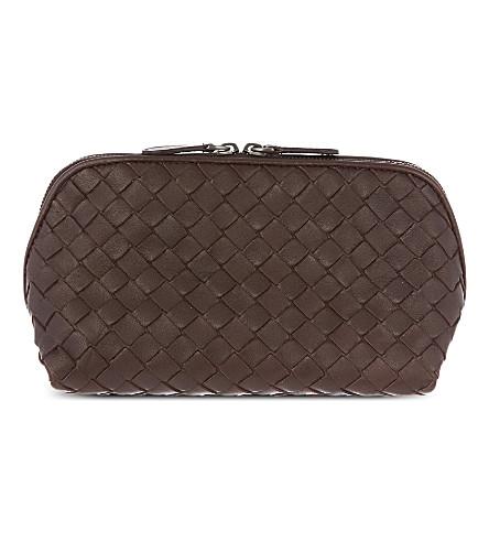 BOTTEGA VENETA Intrecciato leather cosmetic case (Ebano