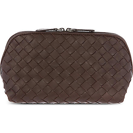 BOTTEGA VENETA Woven leather cosmetic case (Ebano
