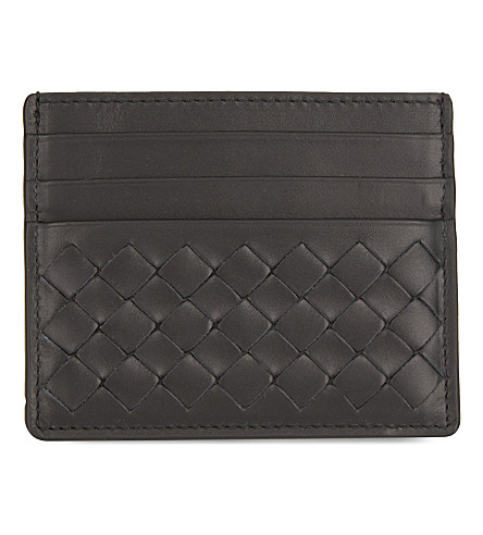 BOTTEGA VENETA Intrecciato weave leather card holder (Nero