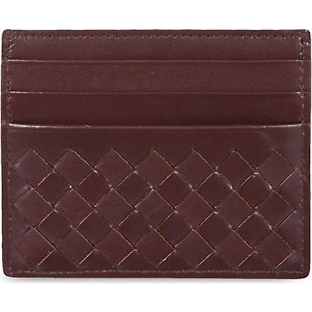 BOTTEGA VENETA Woven leather card holder (Aubergine