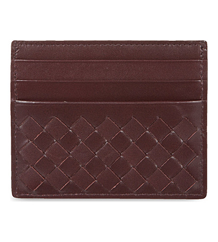 BOTTEGA VENETA Woven leather card holder (Aubergine