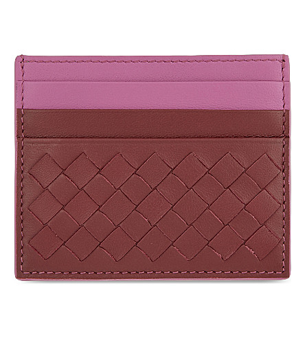 BOTTEGA VENETA Intrecciato Nappa-leather card holder (Barolo+peony