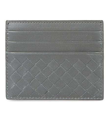 BOTTEGA VENETA Woven leather card holder (New+lgrey