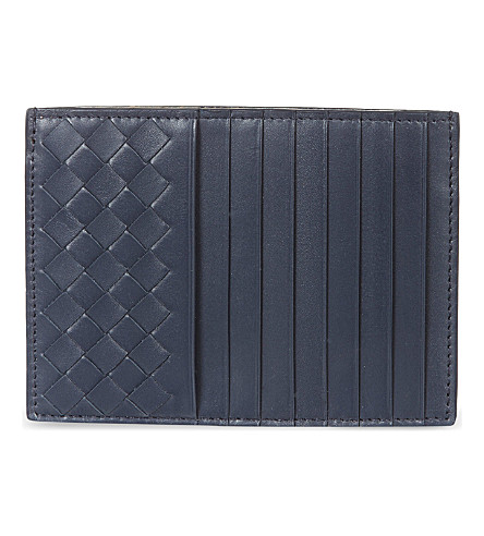 BOTTEGA VENETA Intrecciato leather long card holder (Prusse