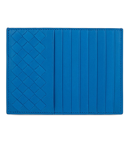 BOTTEGA VENETA Intrecciato leather long credit card holder (Peacock+blue
