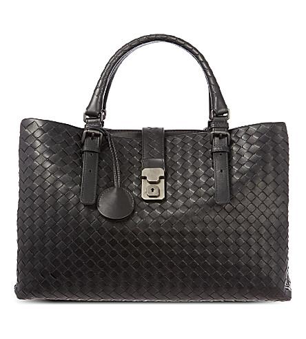 BOTTEGA VENETA Roma Intrecciato leather medium tote bag (Nero