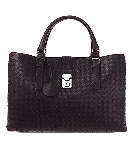 BOTTEGA VENETA Roma Intrecciato leather medium tote bag (Moro