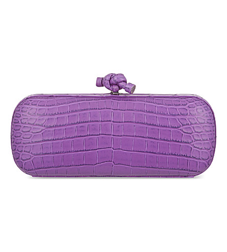 BOTTEGA VENETA Stretch knot crocodile clutch (Byzantine