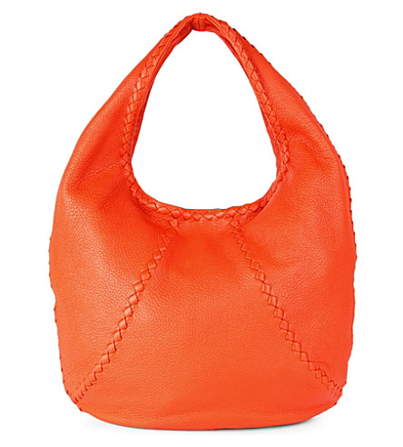 BOTTEGA VENETA Washed Cervo large leather hobo (Tangerine