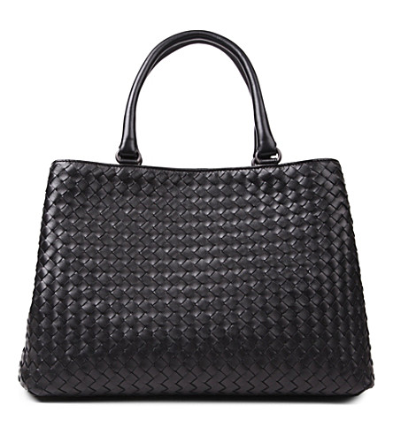 BOTTEGA VENETA Milano Intrecciato leather tote (Nero