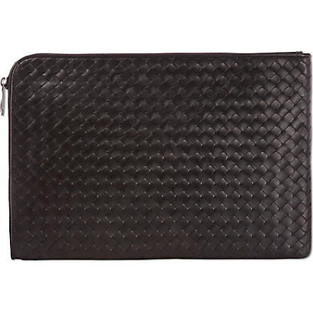 BOTTEGA VENETA Woven leather document case (Nero