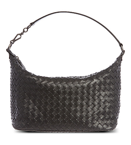 BOTTEGA VENETA Intrecciato leather shoulder bag (Nero