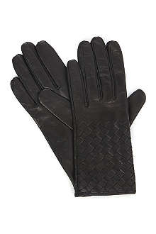 BOTTEGA VENETA Woven-leather gloves