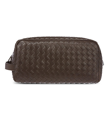 BOTTEGA VENETA Intrecciato large leather travel case (Ebano