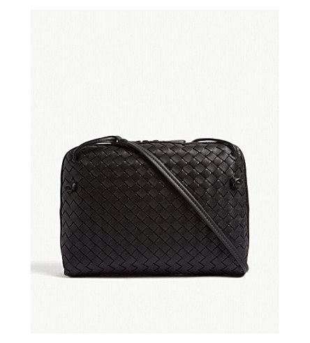 BOTTEGA VENETA Cubo small intrecciato cross-body bag (Black