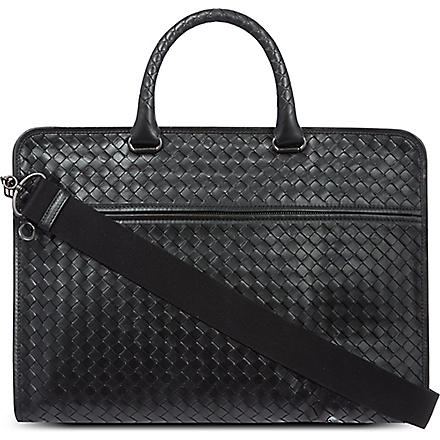 BOTTEGA VENETA Woven leather briefcase (Nero