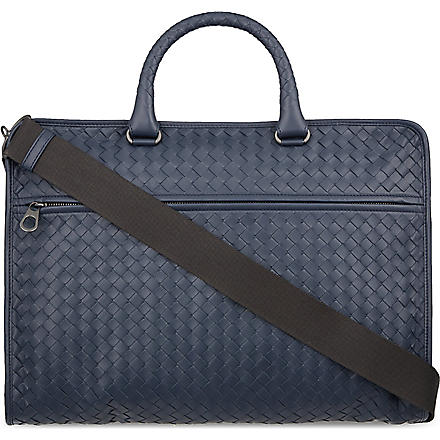 BOTTEGA VENETA Woven leather briefcase (Prusse