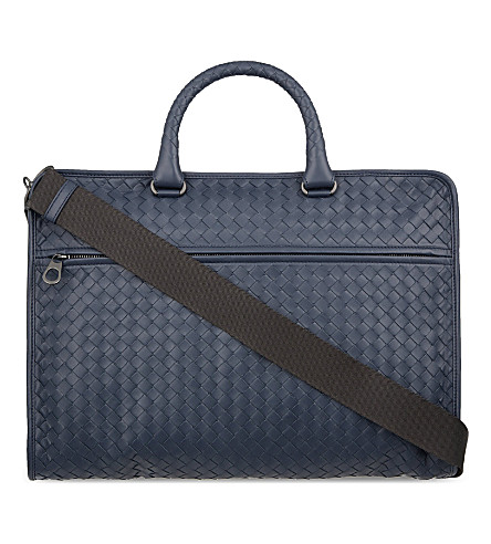BOTTEGA VENETA Intrecciato leather briefcase (Prusse