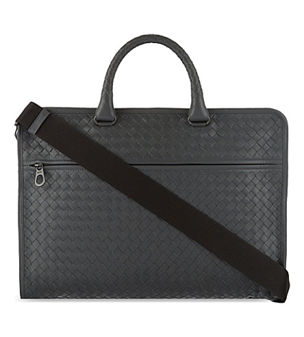 BOTTEGA VENETA Intrecciato leather briefcase (New+light+grey