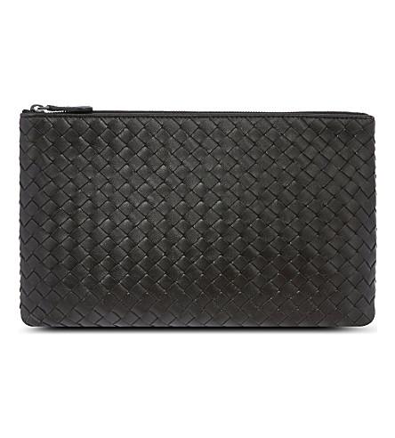 BOTTEGA VENETA Intrecciato leather pouch (Nero