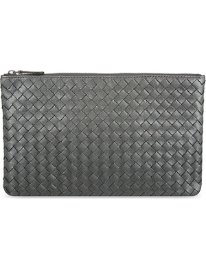 BOTTEGA VENETA Intrecciato metallic leather pouch