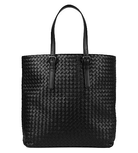 BOTTEGA VENETA Intrecciato medium leather tote (Nero
