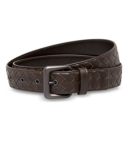 BOTTEGA VENETA Intrecciato leather belt (Espresso