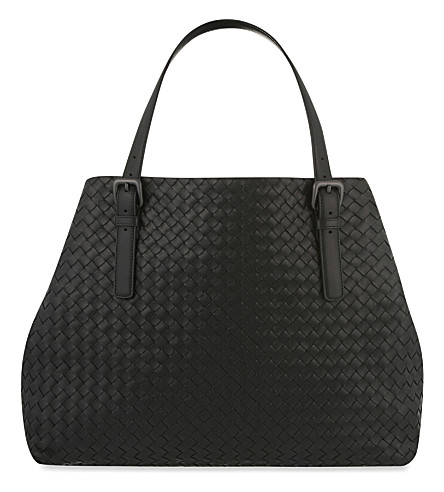 BOTTEGA VENETA Intrecciato leather large open tote (Nero