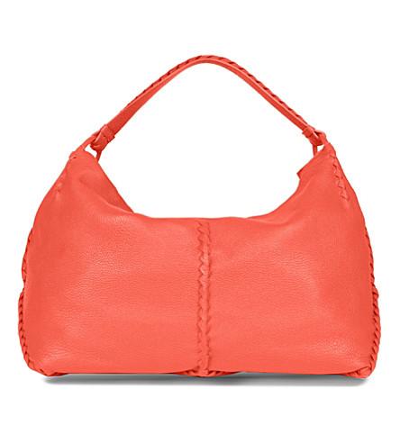 BOTTEGA VENETA Washed Cervo leather hobo (Tangerine
