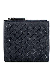 BOTTEGA VENETA Black prusse woven mini coin wallet