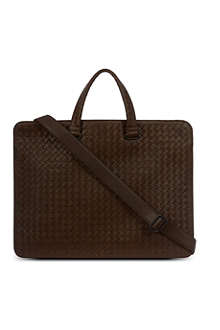 BOTTEGA VENETA Smoky woven leather briefcase
