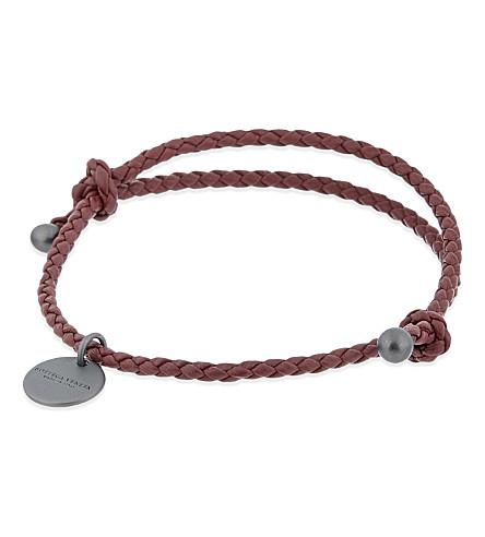 BOTTEGA VENETA Intrecciato Nappa leather bracelet (Barolo+wine