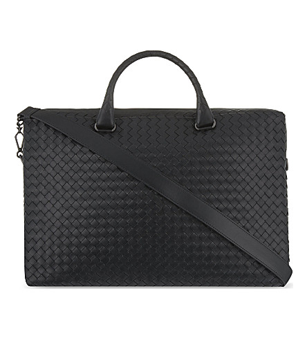 BOTTEGA VENETA Intrecciato leather briefcase (Nero
