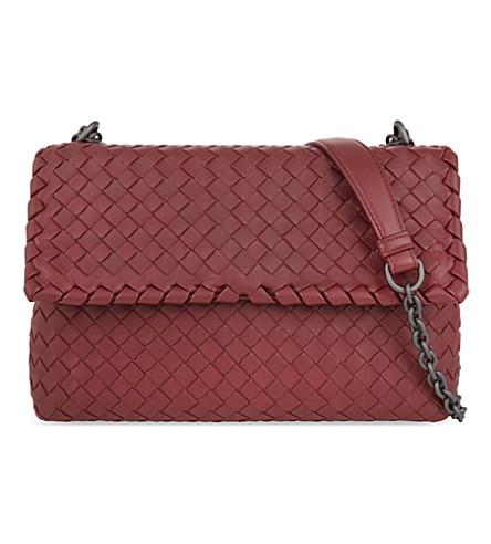 BOTTEGA VENETA Olimpia intrecciato small leather shoulder bag (Barolo+wine