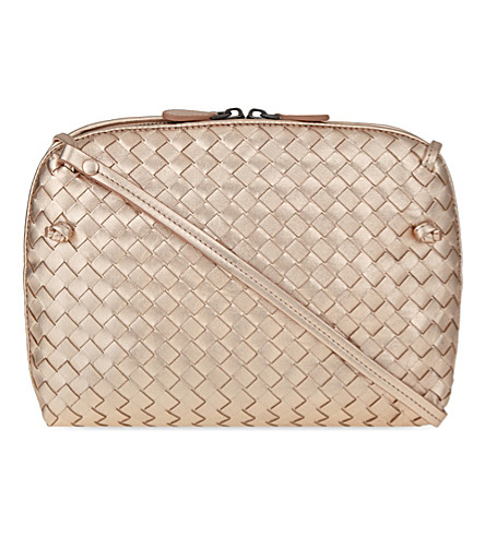 BOTTEGA VENETA Woven Intrecciato small cross-body bag (Rose+gold