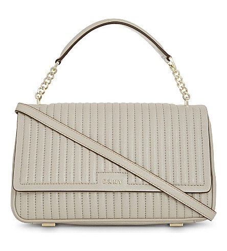 DKNY Gansevoort medium quilted leather shoulder bag (Blush+grey