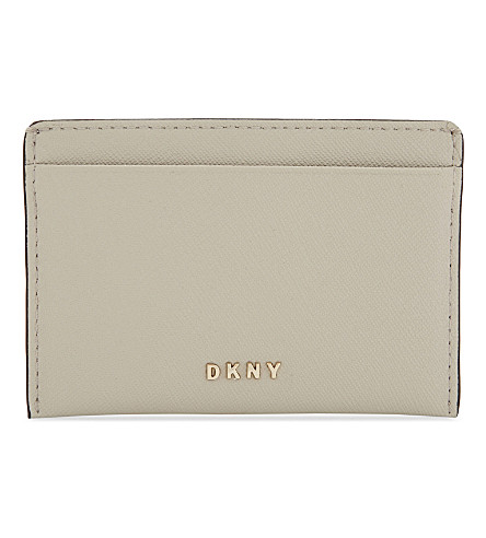 DKNY Bryant Park Saffiano leather card holder (Blush+grey