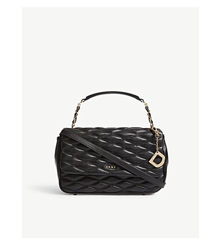 DKNY 绗缝皮肩包 (黑色
