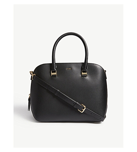 DKNY Lynn medium leather satchel bag (Black
