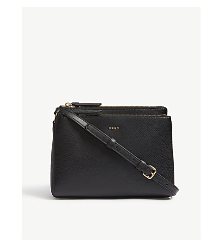 DKNY Grained leather cross-body bag (Black