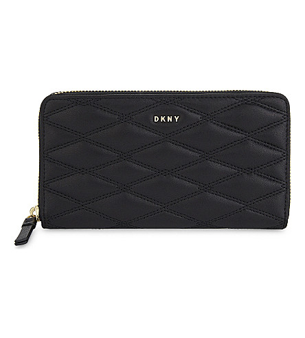 DKNY Quilted leather zip-around wallet (Black