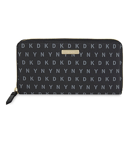 DKNY Bryant zip-around wallet (Black+logo