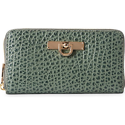 DKNY French Grain zip–around wallet (Celadon