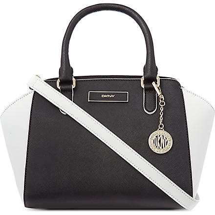DKNY Saffiano leather satchel (Black/white