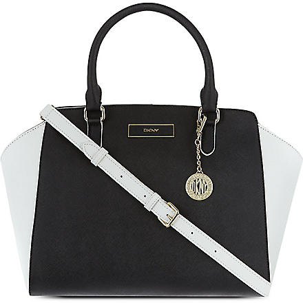 DKNY Saffiano medium leather satchel (Black/white
