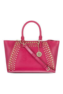 DKNY Saffiano studded leather satchel